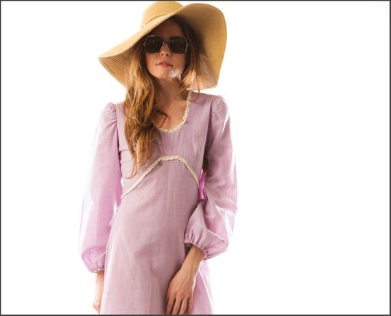Lavender and Lilac Eyelet Trim Gingham Print Prairie Dress--S