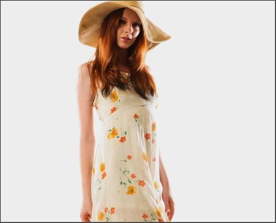Pretty in Poppies Vintage Bohemian Hippie Maxi Dress--S