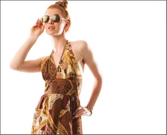 Earth Queen Bohemian Tiki Resort Hippie Halter Maxi Dress--S