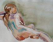 Nude female sitting - watercolor