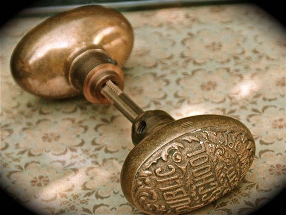 Antique Public School New York City Door Knob Set