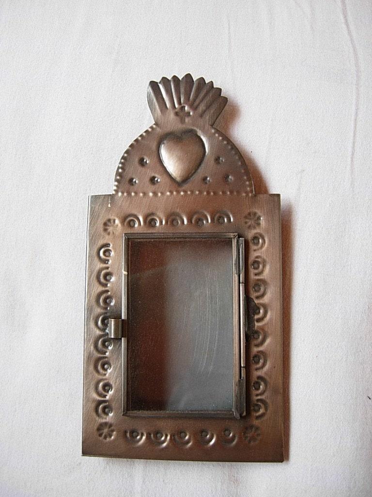 Mexican Nicho Shrine Shadow Box Frame Heart Dome Flame