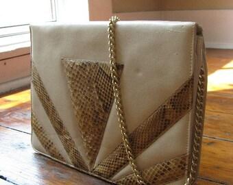 Vintage Tan Leather with Snakeskin Trim Handbag