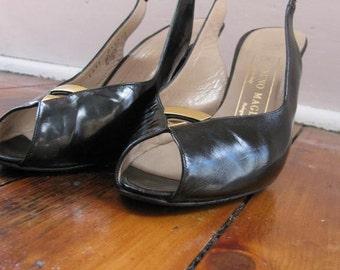 Designer Peep Toe Slingback Heels by Bruno Magli,  Sz 9AA
