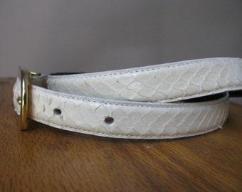 Vintage White Snakeskin Belt