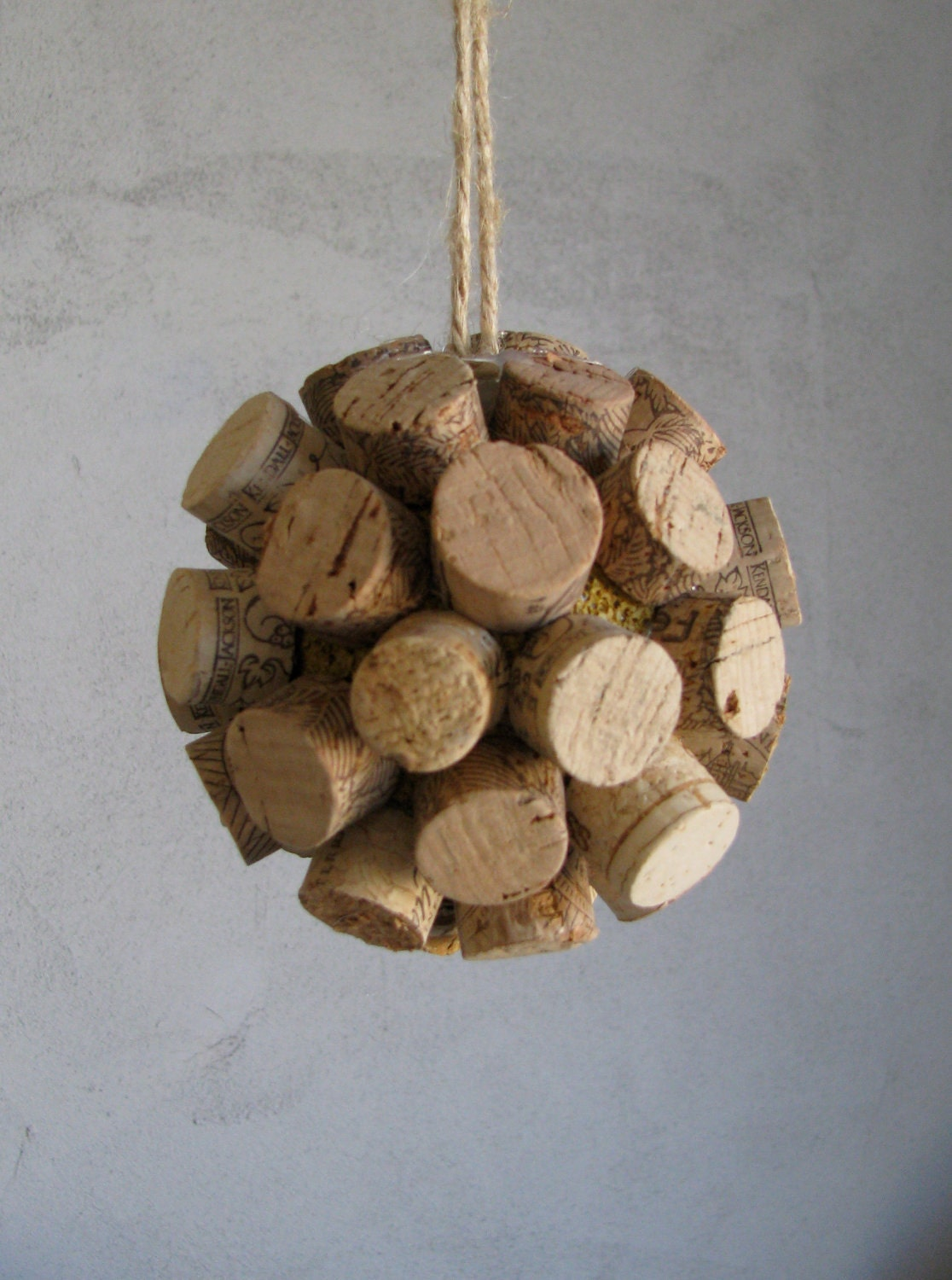 Wine cork ball ornament made to order by murage on etsy for Cork balls for crafts