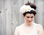 Marjorie--a large fabric flower and lace headband