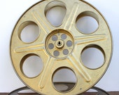 Vintage Large Metal Gold Tone MOVIE Reel