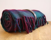 Vintage PLUM Plaid Wool Picnic Blanket by Faribault