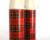 Vintage 1960 - 1970's PLAID Thermos Set of 2