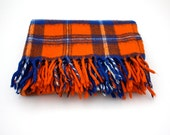 Vintage Orange and Blue PLAID Picnic Blanket by Faribo - aniandrose