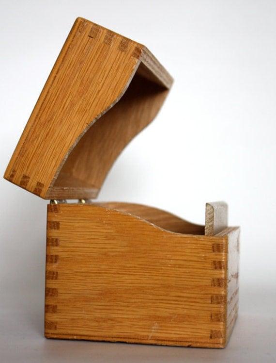 Vintage Wooden Dovetail Recipe Box