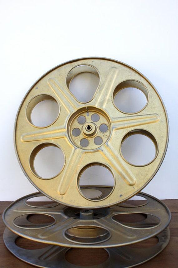 Vintage Large Metal Gold Tone MOVIE Reel