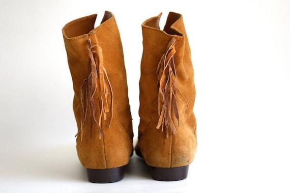 Vintage Suede FRINGE Ankle Boot Size 10 B