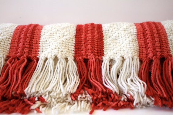 Vintage CIRCUS Stripe Handmade Afghan