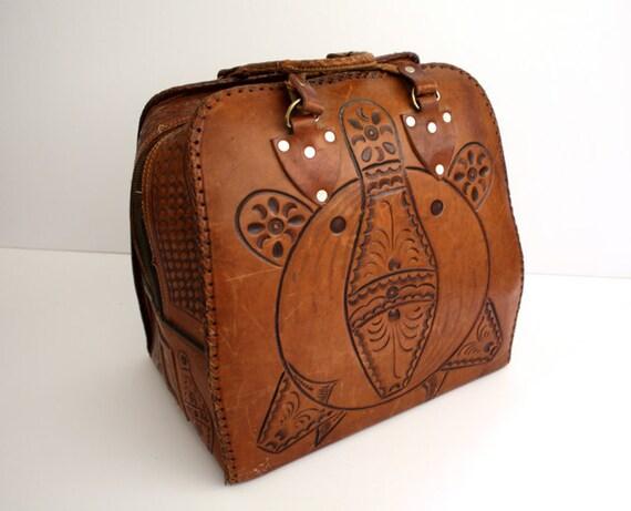 Vintage Tooled LEATHER Bowling Bag