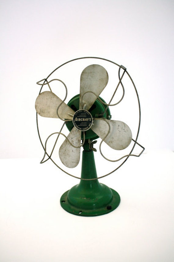 Vintage INDUSTRIAL Green Aircraft Table Fan