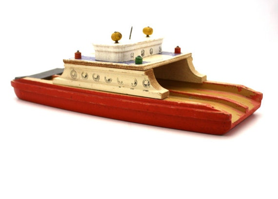 Vintage Shabby Wooden TOY Ferry Boat