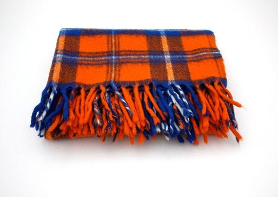 Vintage Orange And Blue Plaid Picnic Blanket By Faribo