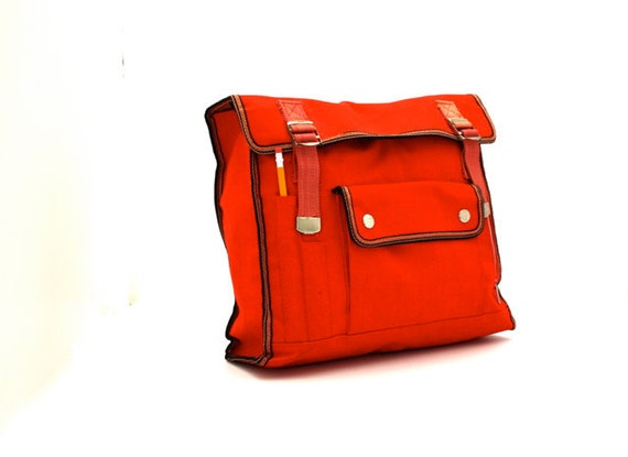 Vintage Bright RED Day Trip Backpack School Bag