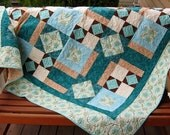 Handmade Quilt in Teal, Aqua, Brown and Cream 64 x 64
