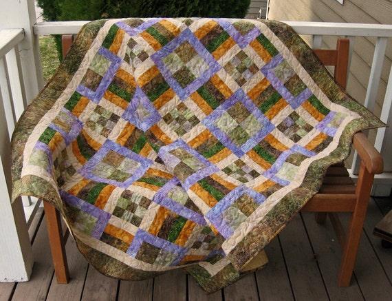 Earthtone Batik Squares Lap/Throw/Sofa Quilt