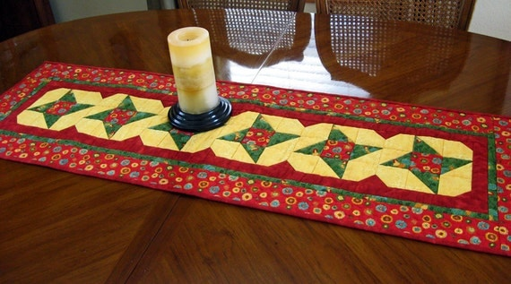 Christmas Stars Table Runner Red, Green and Yellow