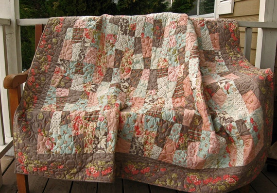 Shabby Chic Twin Coverlet or Large Lap Quilt