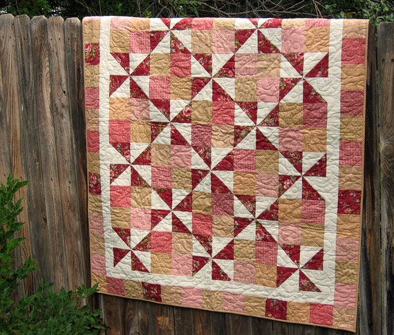 Handmade Shabby Chic Lap Quilt in Dusty Rose