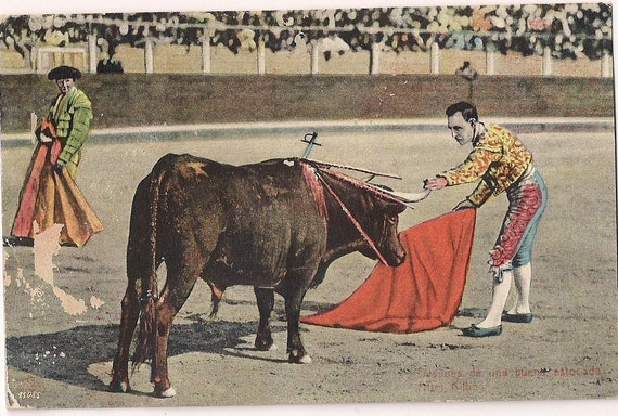 Vintage Mexican Bullfighter Postcard Hand Colored