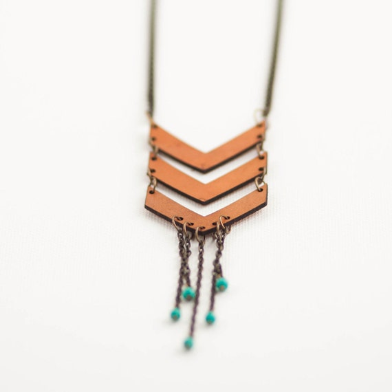 Chevron Necklace //  Laser Cut & Hand Dyed Leather, Antique Brass Chain, and Turquoise Beads