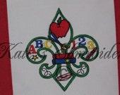 School Teacher Fleur de lis Tote Bag - Fleur Embroidery only