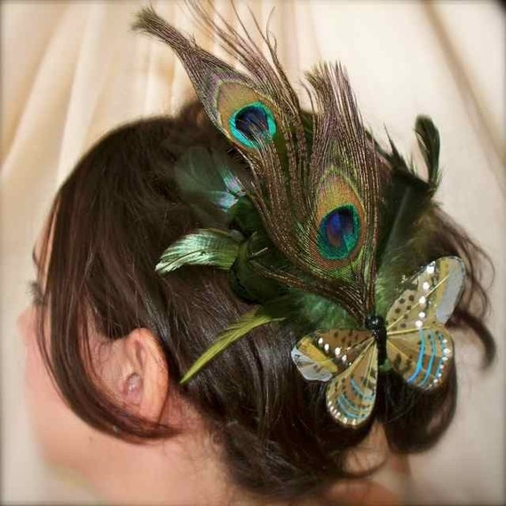 Peacock Flight - Peacock Feather Hand Painted Feather Butterfly Fascinator