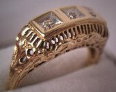 ON SALE 10% OFF Vintage Diamond Wedding Ring Band Art Deco Filigree 6.5