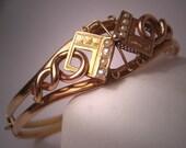 Antique Gold and Pearl Victorian Bangle Bracelet 14K Vintage