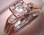 Antique Diamond Wedding Ring Set Vintage Art Deco 14K White Gold