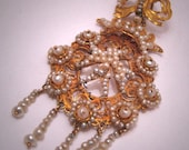 Antique Georgian Pendant Necklace Gold Seed Pearls 1790