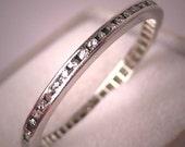 Antique Platinum Diamond Eternity Band Wedding Ring 5