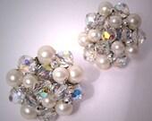 Vintage Vendome Pearl Crystal Earrings Estate Wedding Bridal Jewelry