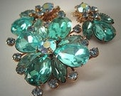 Vintage Rhinestone Pin Earrings Signed Cathe Juliana