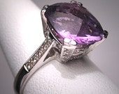 Vintage Amethyst Diamond Wedding Ring White Gold Deco 7