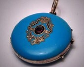 Antique Victorian Enameled Ruby Locket Necklace Pendant