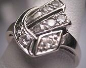 Antique Diamond Wedding Ring Vintage Art Deco 1920s