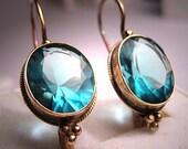 Vintage Blue Topaz Earrings Antique Victorian Gold Set