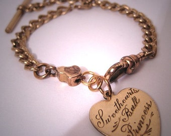 Antique Victorian Charm Fob Bracelet Sweethearts Ball