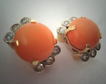 Antique Coral Diamond Earrings Platinum 18K Gold Art Deco