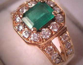 Estate Vintage Emerald Diamond Ring 14K Gold Wedding Band