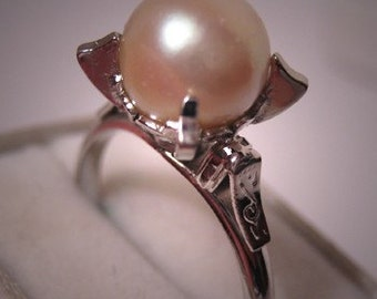 Antique Pearl Ring Vintage Art Deco Akoya Pearl Ornate Setting