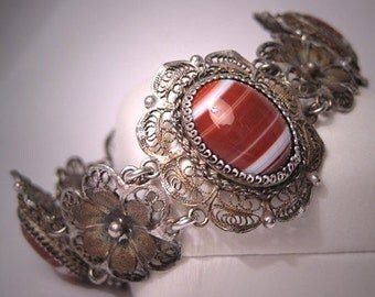 Antique Agate Bracelet Vintage Victorian Art Deco Filigree