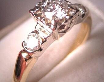 Antique Diamond Wedding Ring Vintage Art Deco Era Engagement
